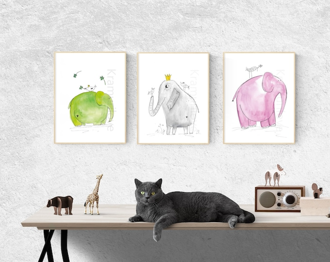 Elephant Poster,dream print,A4 print,wall decoration green,pink elephant,Christmas gift baby, colorful elephant, wall decoration kids,animal poster, colorful