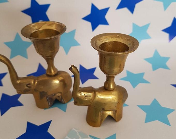 Candle holder made of brass, elephant candlestick, shabby decoration, candlestick elephant, vintage decoration, candlestick gold, elephant brass,