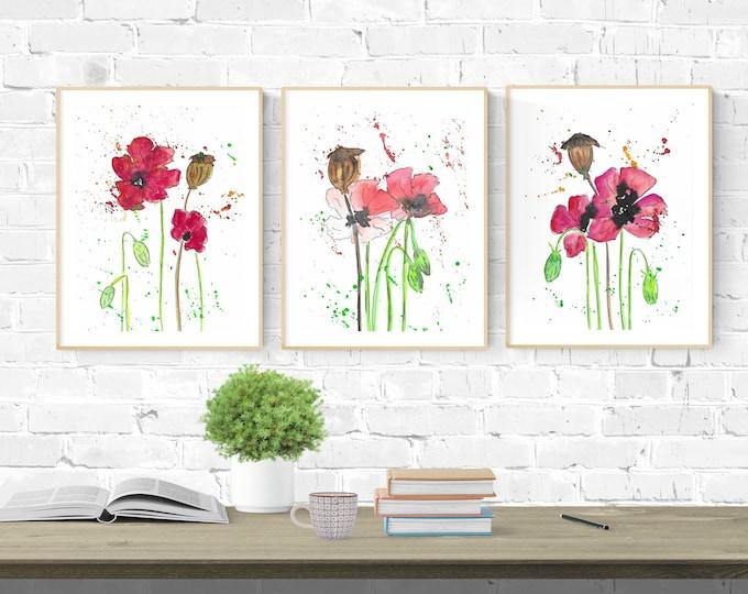 Poppy Flower Picture,Download,Poppy Bluimen Set, Wall Deco Flowers, Wall Deco Plants, Poppy Decoration, Gift Flowers,Gift Girlfriend,Poppy Print
