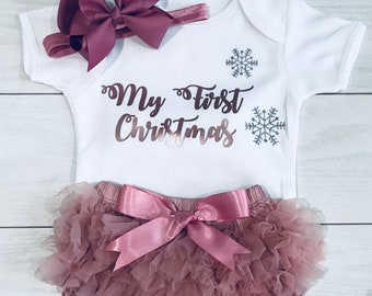 587117a703695 Luxury Baby Girls My First 1st Christmas Outfit Set Frilly Tutu Knickers  Vest & Headband Rose Gold Dusky Pink Vintage Photo Shoot