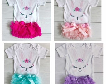 Baby Girls 1st First Easter Outfit Set Photoshoot Frilly Knickers Vest  Bodysuit Party Bunny Personalised Happy Easter UK Seller 6-24 months dd1ee2b6f