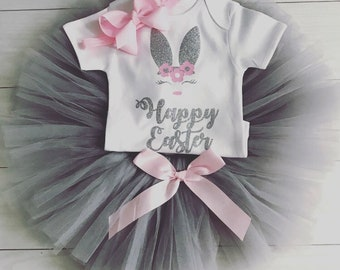 a4c2dfb0f8d9 Luxury Baby Girls 1st First Happy Easter Outfit Tutu Skirt Vest Top Photo  Shoot Party Soft Grey And Pink Bow Headband Bunny UK Seller