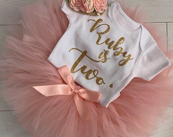 Girls 2nd Second Birthday Party Outfit Tutu Skirt Vest Top Headband Two Cute Baby Rainbow