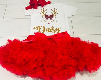 2e3ed7098bdf6 Luxury Baby Girls Christmas Outfit My 1st First Party Set Xmas Eve Box Gift  Custom Made Personalsied Rose Gold Dusky Pink UK