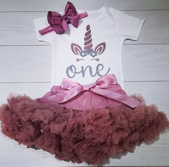 Luxury Girls First 1st Birthday Tutu Skirt Outfit Rose Gold Dusky Cake Smash Set
