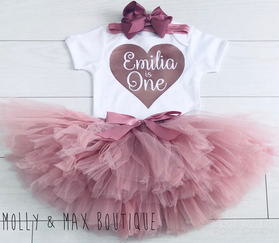 Personalized First birthday outfit girl pink and gold birthday outfit 1st birthday girl outfit Baby girl first birthday outfit Personalized