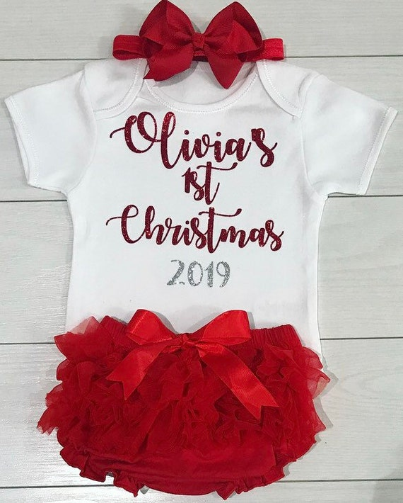 Girls My 1st Christmas Santa Baby Outfit Tutu Skirt Vest /& Bow Photo Shoot Red