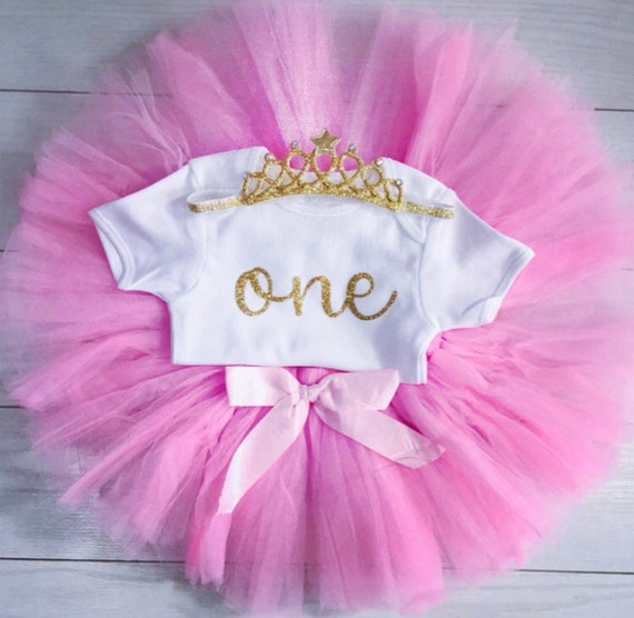 Girls Christmas 1st First Birthday Outfit Tutu Skirt Cake Smash Set Blush Tiara