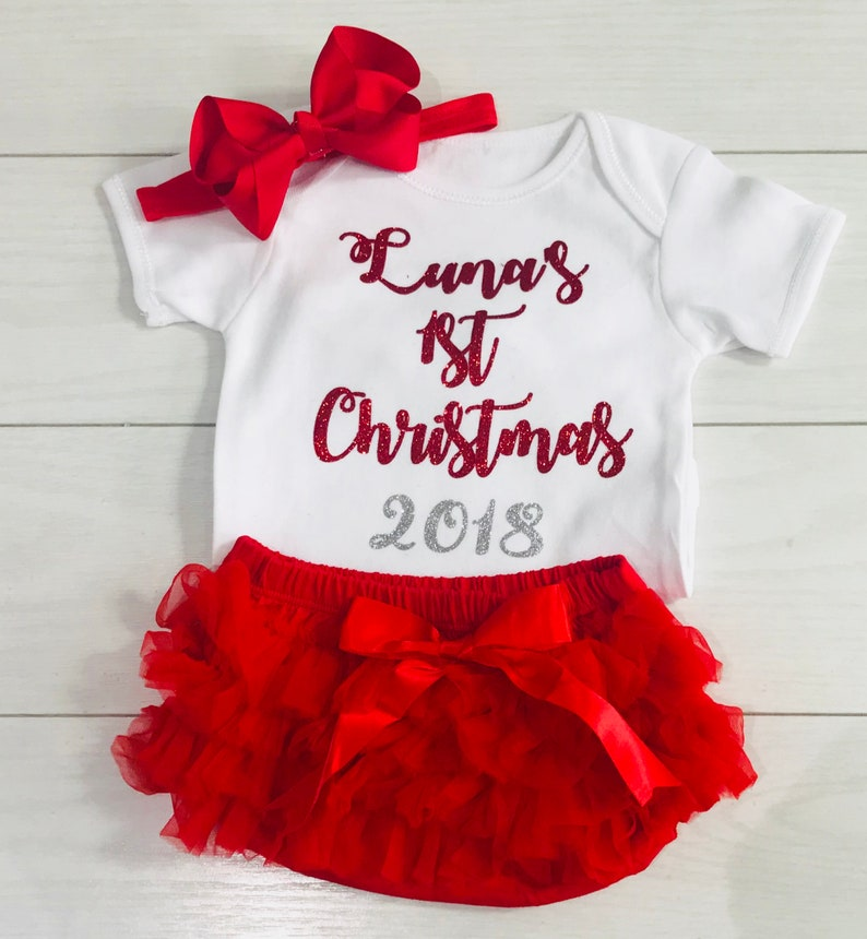 2632f6c73 Baby Girls 1st My First Christmas Personalised Outfit Photo | Etsy