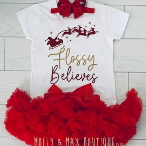 Luxury Personalised Girls My 1st First Christmas Outfit Tutu Skirt Rose Gold
