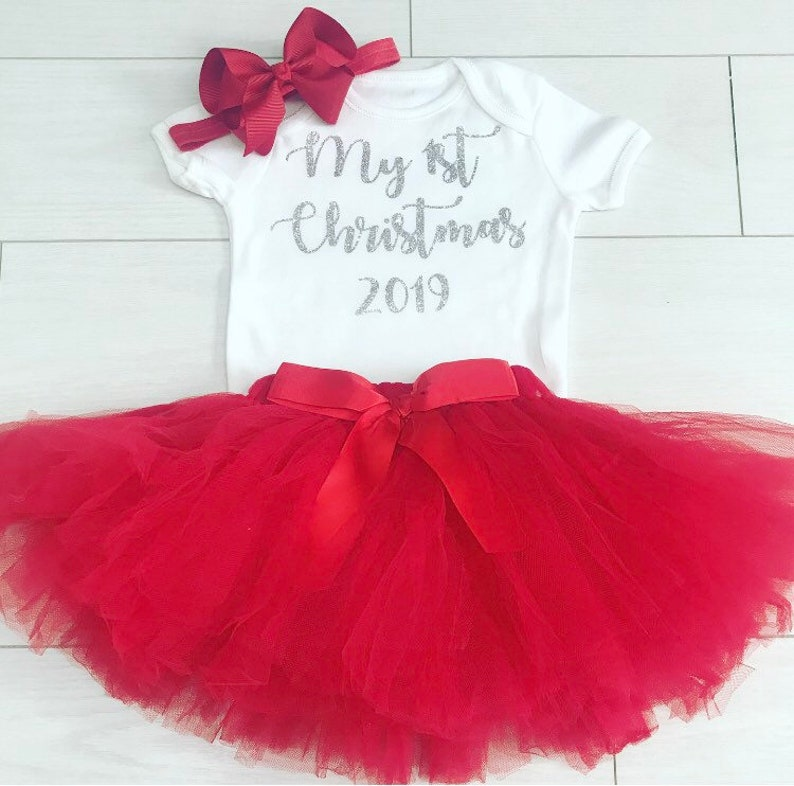 Luxury Baby Girls My First 1st Christmas Outfit Photo Shoot Prop Net Tutu Skirt Vest Top and Bow Red Headband Party UK 0-24 month