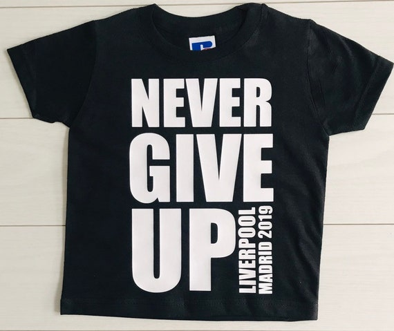 new concept b7aa4 b5a59 Kids Mo Salah T-Shirt Never Give Up Liverpool FC Football Madrid 2019  Champions League UK Seller