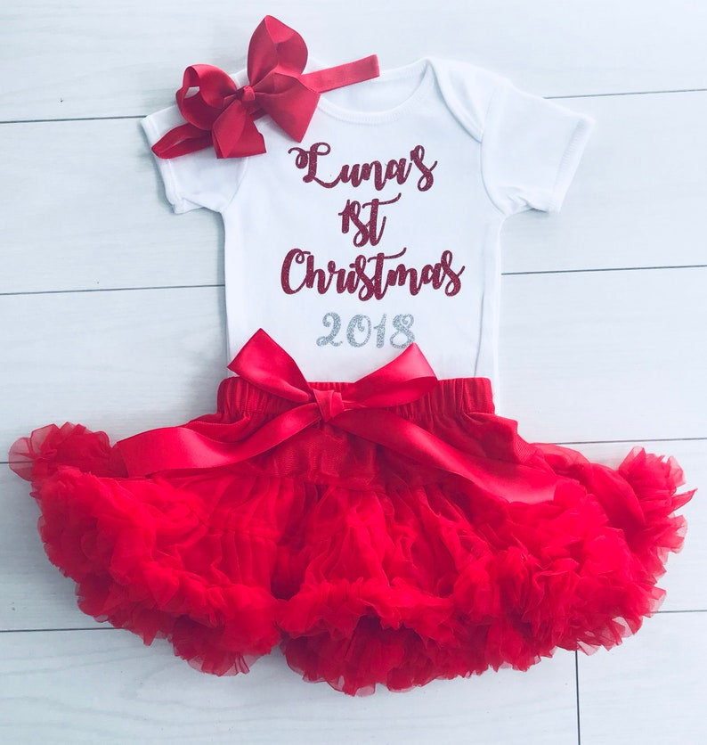 f574e2853fdc Luxury Girls My 1st First Christmas Outfit Set Tutu Skirt   Etsy
