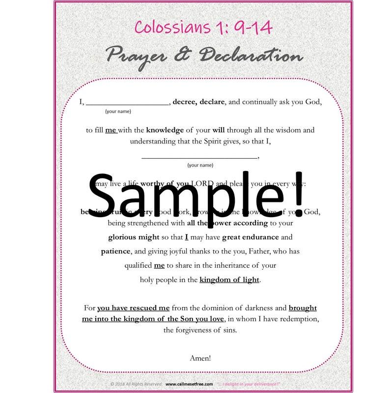 Colossians Prayer Template image 0