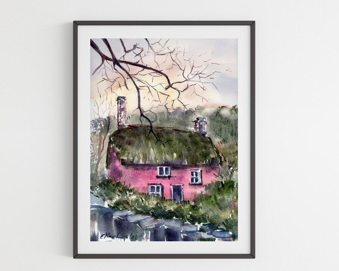 england malerei original kunst märchen cottage englisch