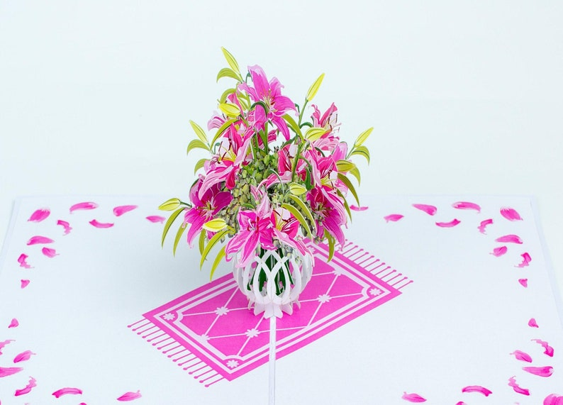 Pink Lily vase pop up card Mother/'s day card flower pop up card birthday card