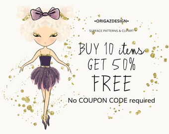 Coupon: Buy three items for the price of two digital paper Clipart wall art