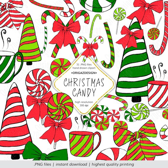 Christmas Candy Clipart.Christmas Candy Clipart Christmas Candy Cane Clip Art Sweets Lollipop Hand Painted Christmas Elements Planner Stickers Digital Clipart Png