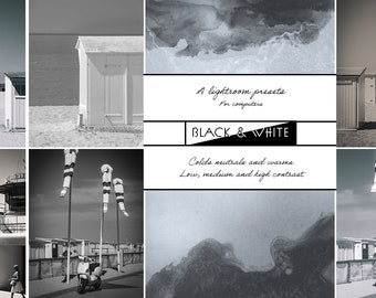 BLACK - WHITE, preset adobe Lightroom, batch of 9 preset, digital photo editing tool, for artist or entrepreneur, shades of gray