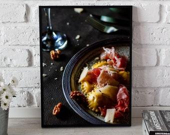Digital poster, for cooking, Tortelonni alla pancetta, Italian cuisine, still life, parmesan, red wine, luxury scene, catering