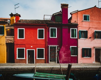 Lot of 5 digital photos, trip to Italy, Burano Island, Colorful houses, decorative posters, travel decoration, living, gift for a friend