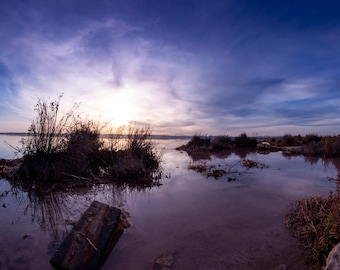 Example of file, digital photo, seaside decoration, salt lake of Spain, trip to Torrevieja, sunset, gift for a friend