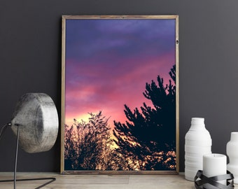 DIGITAL landscape PHOTO - Print It Yourself - Sky on fire - epic sky in pink orange and purples