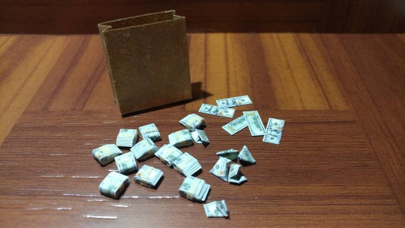 1//12 scale Bag-o-Money miniature toy money $100 bills GI Joe Dollhouse miniature