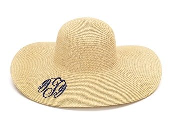Monogrammed Floppy Hat for Her Personalized Floppy Hat Monogrammed  Embroidered Name Beach Hat Monogrammed Beach Hat 4b91439df3d