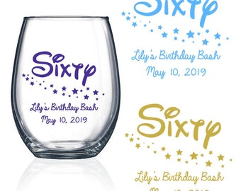 Set Of 24 60th Birthday Favors Stemless Wine Glass Sixty Design With Stars Party SixtySD1