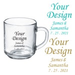 """Set of 24 Personalized Custom """"Your Design"""" Favors Glass Coffee Mugs Party Gift Ideas Coffee Mug Custom Wedding Baby Shower Favors"""