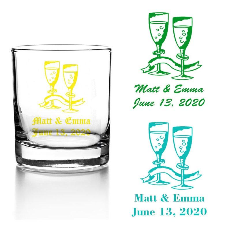 Set of 24 Personalized Wedding Toasting Glasses Votive Candle Holder Custom Wedding Party Reception Favors Bridal Shower Favors V22