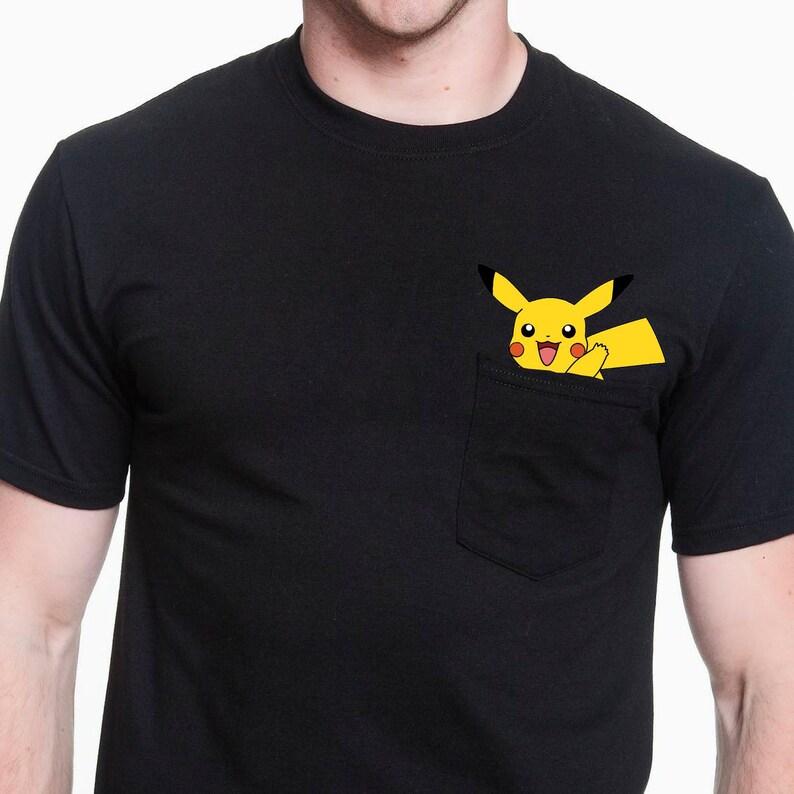 ba6d426f Funny Pikachu Middle Finger Pocket T Shirt Pocket Tshirt Funny   Etsy