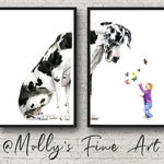 Art Print Great Dane and Little Girl with Butterflies