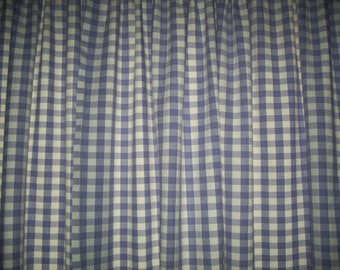 Lavender White Cotton Checkered Curtains 46 In X Unlined