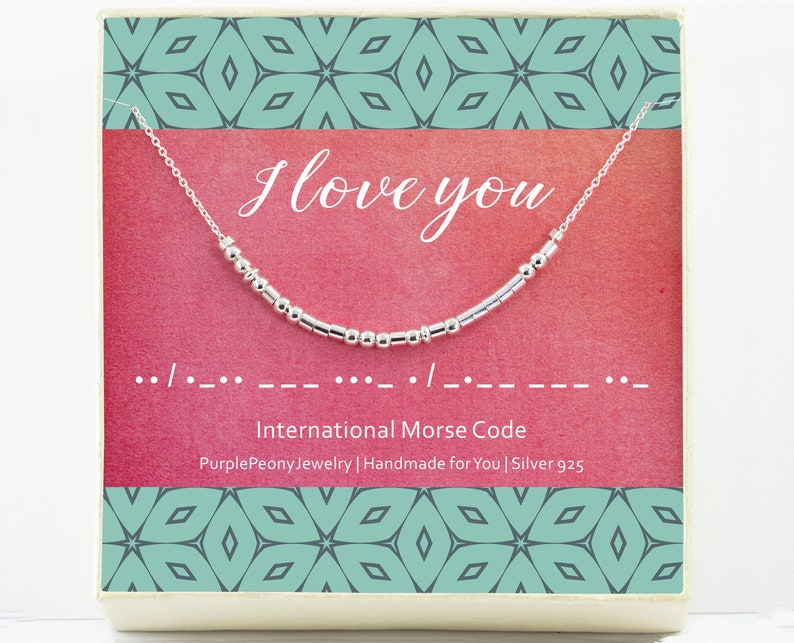 Je T\u2019aime I Love You Morse Code Necklace Unique Valentines Day Gift for Her Sterling Silver and Rose Gold Filled
