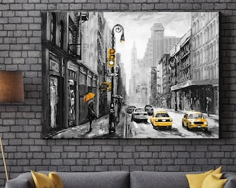 697cf8d98b8 Yellow black and white New York Cab Oil Painting Framed Canvas Print Wall  Art pp95