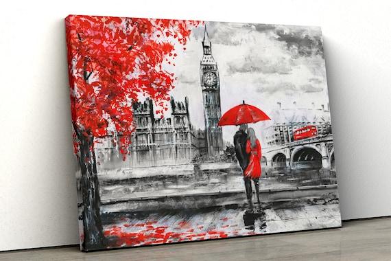 London Red Tree Black white Oil Paint Big Ben Framed Canvas Print Wall Art pp97