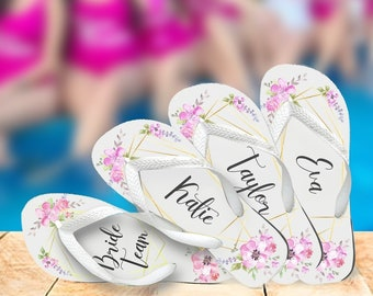 Custom Bridal Flip Flops, Brides, Bridesmaids , MOH, Maid of Honor, Mother of the Bride, Mother of the Groom, Floral Watercolor