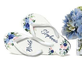 Blue & Pink  Floral Flip Flops / Bride / Bridesmaid / Maid of Honor / Mother of the Bride / Monogram / Wedding Trend / Organza Bags Free