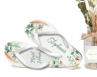 EUCALYPTUS PAMPAS GRASS Flip Flops / Bride / Bridesmaid / Maid of Honor / Mother of the Bride / Gift / Wedding Trend / Organza Bags Free