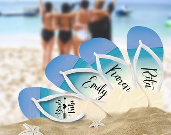 Beach Bride Tribe Flip Flops / Bride / Bridesmaid / Maid of Honor / Mother of the Bride / Mother of the Groom /Bachelorette Party /Honeymoon