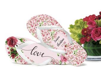 Romantic Wedding Flip Flops, Bride Flip Flops, Flip Flops for Guests, Gifts for Guests, Romantic Style, Organza Bags