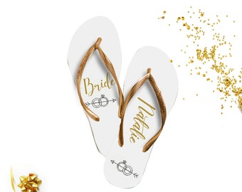 Custom Bride Flip Flop / Bridal Flip Flop / Personalized / Bridal Party Flip Flops / Bride Gift / Organza Bag / Tag FREE