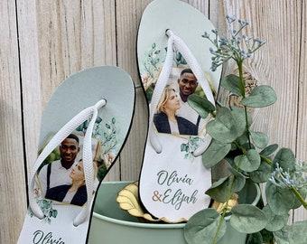 Custom PHOTO based print flipflops EUCALYPTUS design / Personalized Flip Flops / Free Organza Bag + Tag / Photo Gifts / Couple / BFF