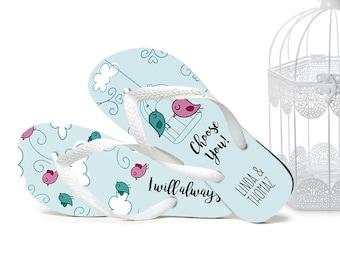 Cute Wedding Flip Flops, Bride Flip Flops, Flip Flops for Guests, Wedding Party, Gift for Guests, Wedding Favors, Birds Cage, Organza Bags