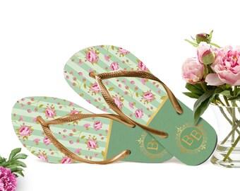 Vintage Wedding Flip Flops, Bride Flip Flops, Flip Flops for Guests, Wedding Party,Gifts for Guests, Floral Peony, Organza Bags