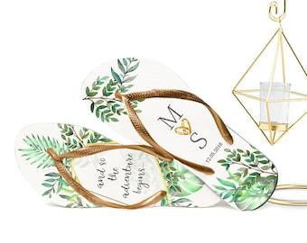 Tropical Wedding Flip Flops, Bride Flip Flops, Flip Flops for Guests, Industrial Style, Gifts for Guests, Wedding Favors, Organza Bags