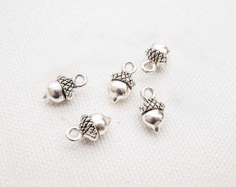 5x Acorn Charm pendant silver, nature, forest, cones