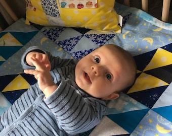 "Custom-made Baby / Toddler quilt in ""Flying Birds"" design"